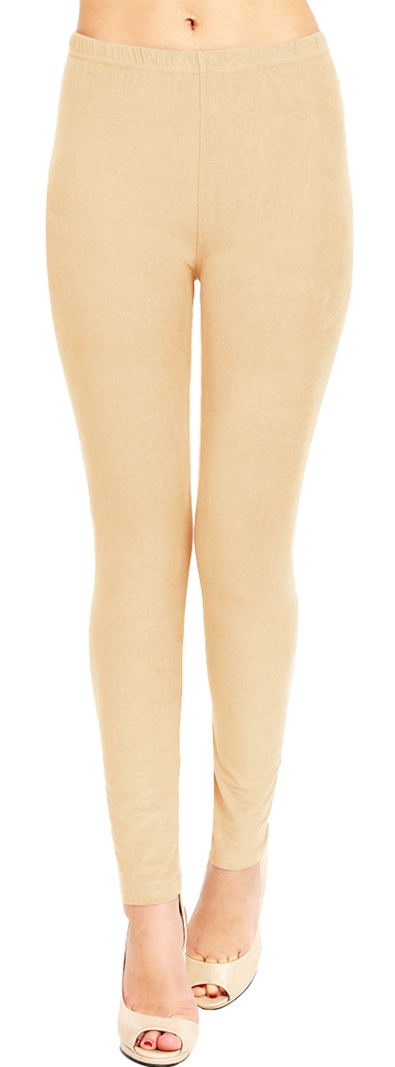 Solid Brushed Leggings VP103-Beige (Full Length)