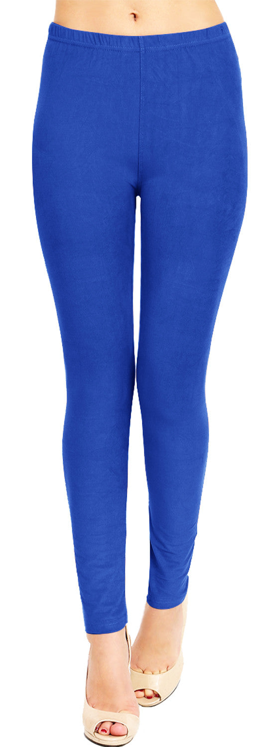 Solid Brushed Leggings VP103-Blue (Full Length)