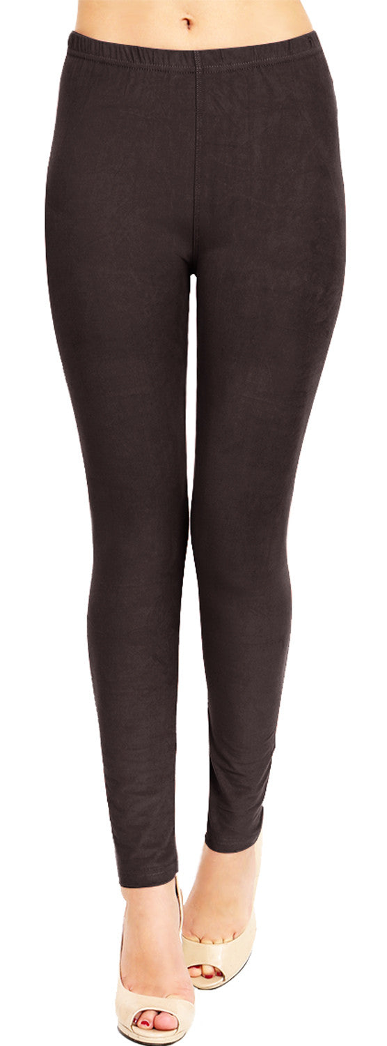 Solid Brushed Leggings  VP103-Dark Brown (Full Length/Capri)