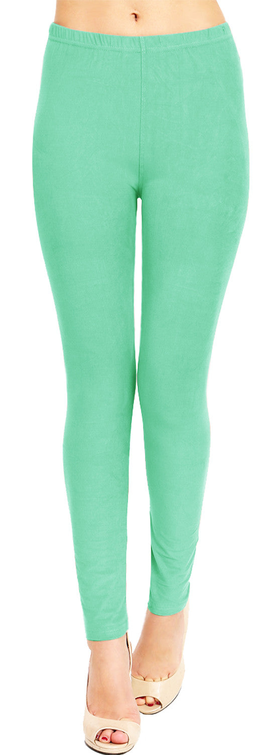 Solid Brushed Leggings VP103-Mint (Full Length)