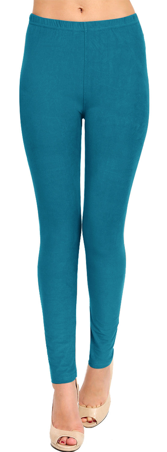 Solid Brushed Leggings VP103-Teal (Full Length)