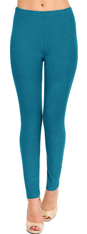 Solid Brushed Leggings VP103-Teal (Full Length/Capri)