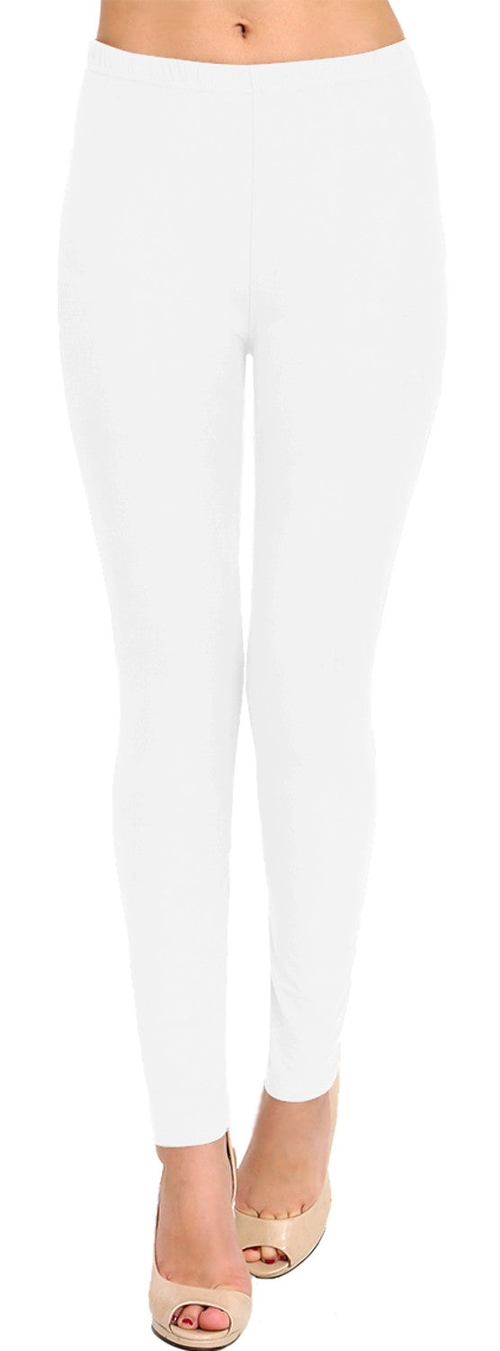 Solid Brushed Leggings VP103-White (Full Length)
