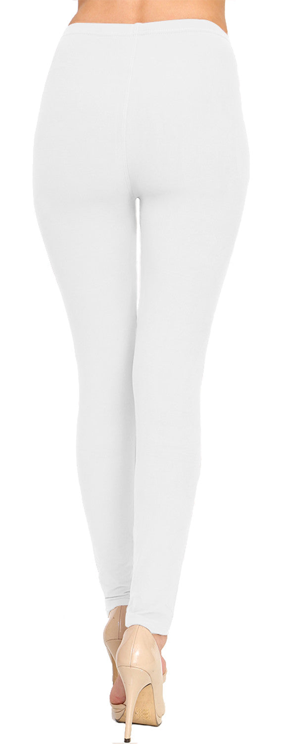 Solid Brushed Leggings VP103-White (Full Length/Capri)