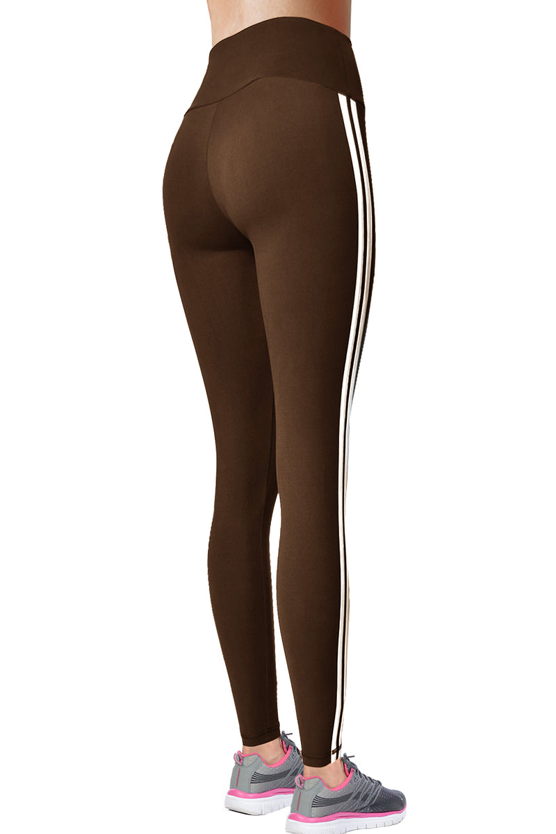 VIV Collection STRIPED Signature Leggings Ultra Soft Elastic YOGA MID WAIST w/ Hidden Pocket