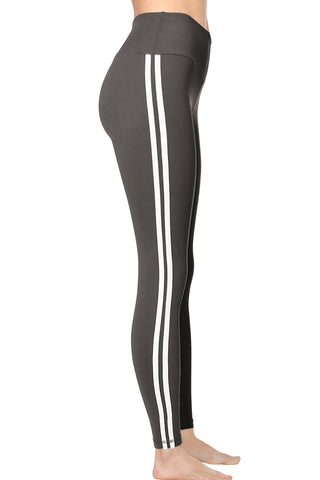 VIV Collection STRIPED Signature Leggings Ultra Soft and Strong Tension Elastic YOGA Waistband w/ Hidden Pocket