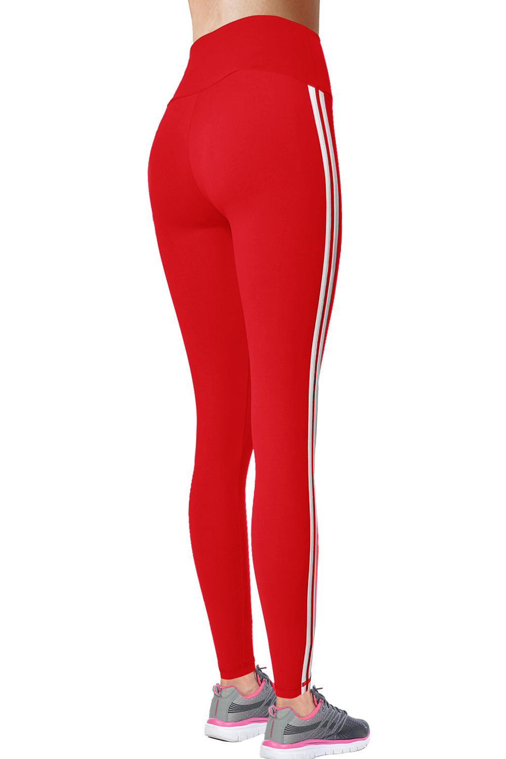 VIV Collection STRIPED Signature Leggings Ultra Soft and Strong Tension Elastic YOGA MID WAIST w/ Hidden Pocket