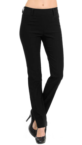 Straight Fit Stretchy Solid Trousers - White