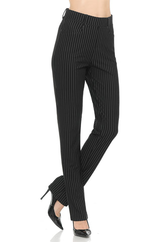 NEW Wrinkle-Free Women's Straight Fit Long Trouser Ankle Pants Solid | Stripes | Dots