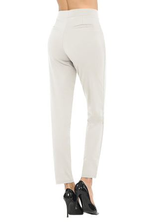 NEW Wrinkle-Free Women's Straight Fit Long Trouser Ankle Pants Solid