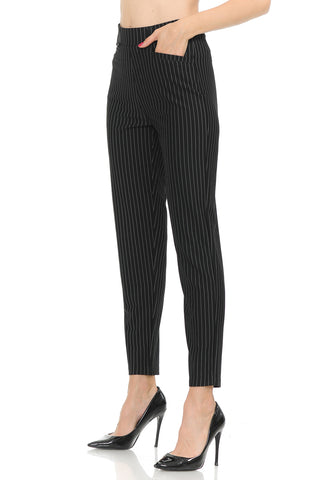 NEW Wrinkle-Free Women's Straight Fit Long Trouser Stripe Pants