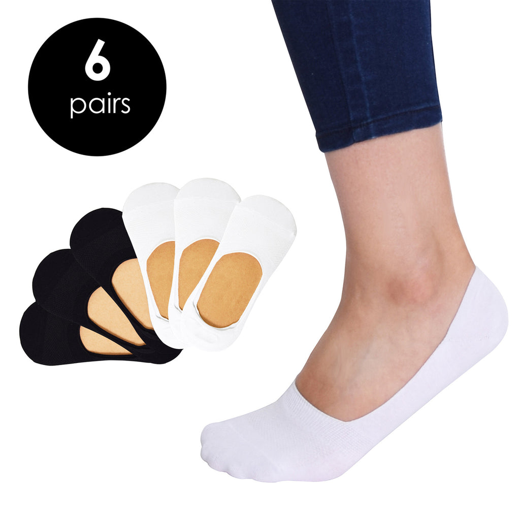 VIV Collection Women's 3 & 6 Pack Casual No Show Socks Non Slip Sports Cut