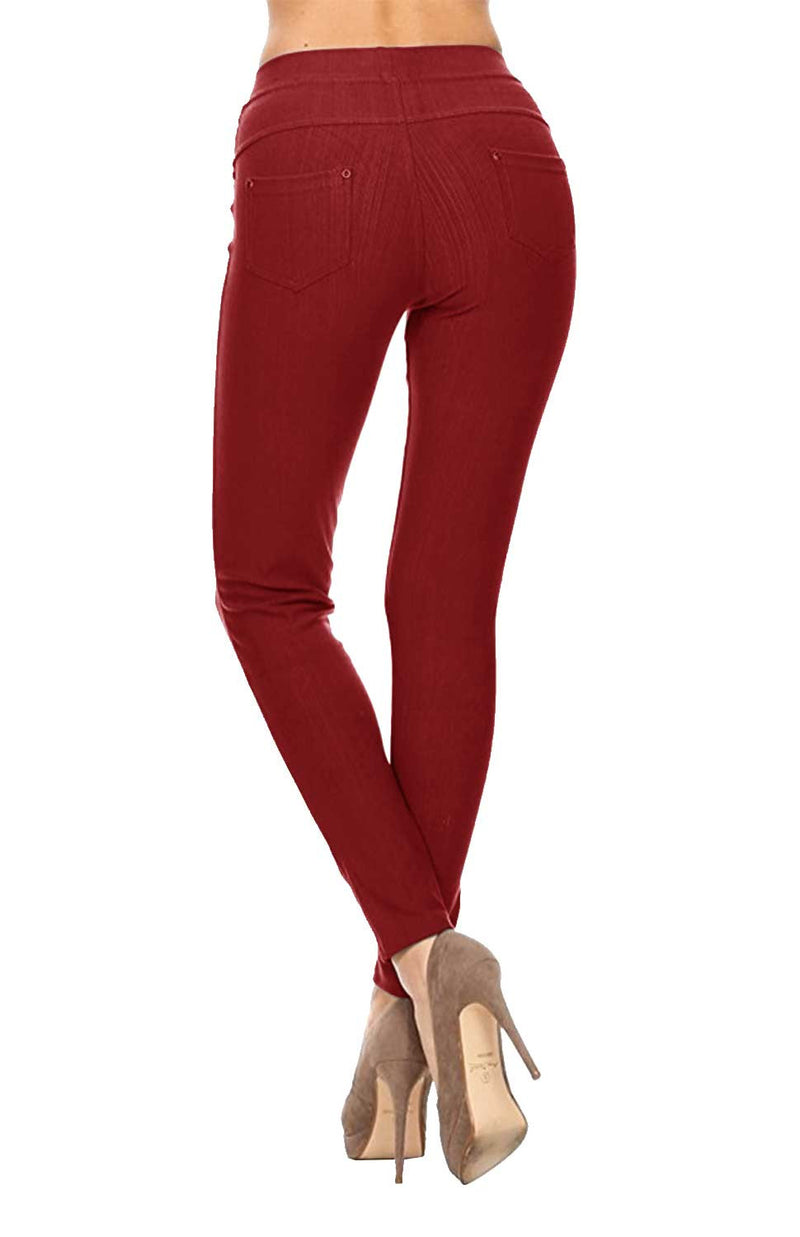 High Waist Solid Super Soft Cotton Blend Jeggings w/ Back Pockets