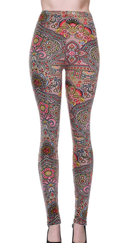 Printed Brushed Leggings - Atlantis
