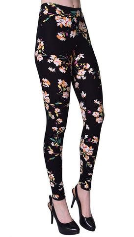 Printed Brushed Leggings - Lily Black