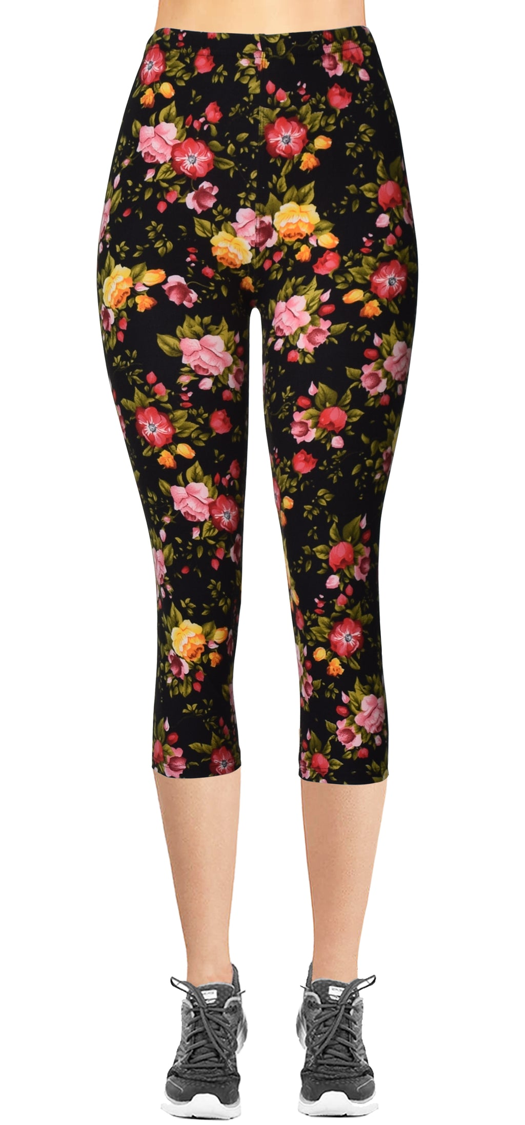 Printed Capris Leggings - Pink Yellow Red Rose