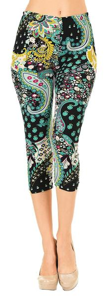 Printed Capris Leggings - Rainforest Paisley