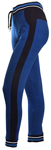 VIV Collection Women's Color Block Stripe Cotton Jogger Pants | 2 Front Pockets | Elastic Waistband and Drawstring