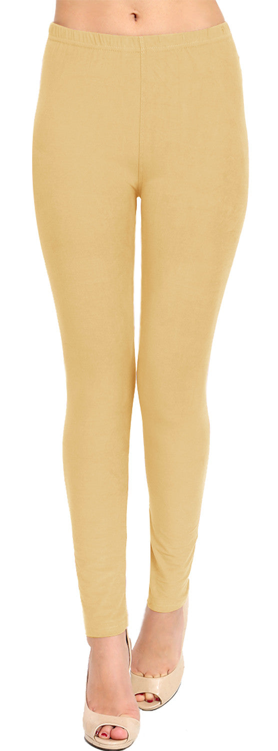 Solid Brushed Leggings VP103-Khaki (Full Length/Capri)