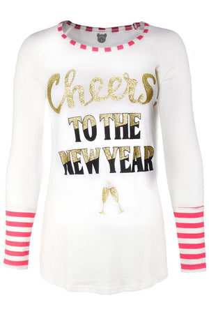 Cheers! To The New Year Part Striped Long Sleeve/Neck