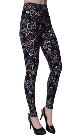 Printed Brushed Leggings - Sweetened Floral