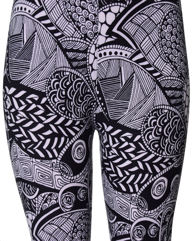 Printed Brushed Leggings - White Timeless Paisley