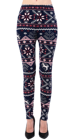 Printed Brushed Leggings - Animal Wintertime