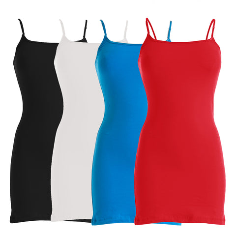 Plain Basic Cami Cotton Tank Top 4-Pack (White/Black/Red/Turquoise)