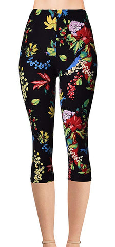 Printed Capris Leggings - Dark Shadow Paisley