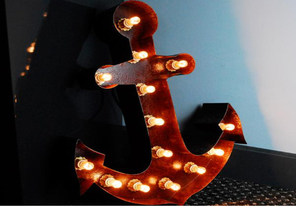 Rusted Anchor-Shaped Steel Light