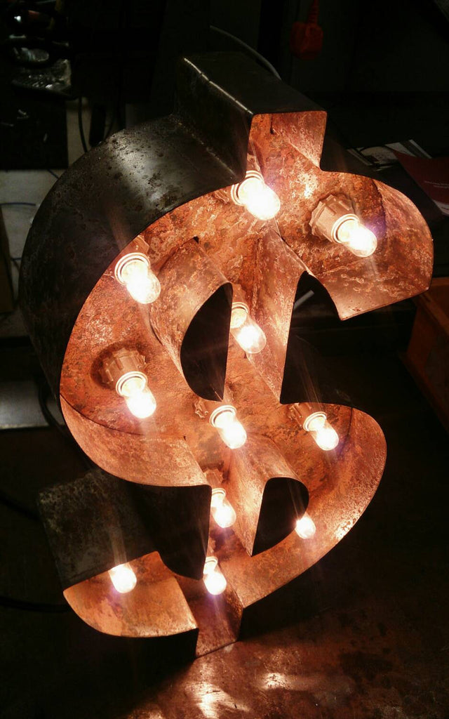 "20"" / 50cm Rusted Steel Dollar Sign Marquee Letter Light - Bob Cool"