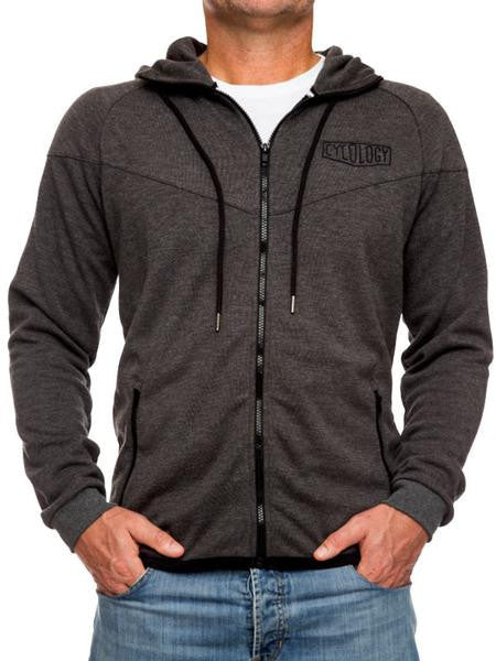 Cycology Mens Lightweight Dark Grey Zip Hoodie