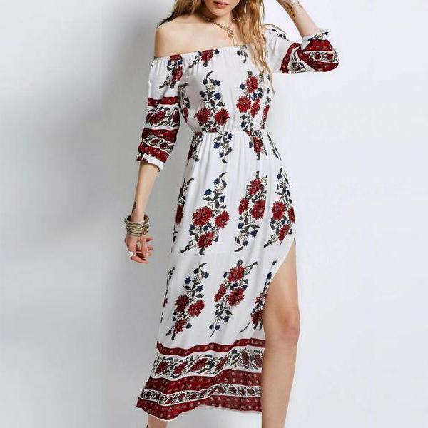 Naya Red Flower Boho Dress