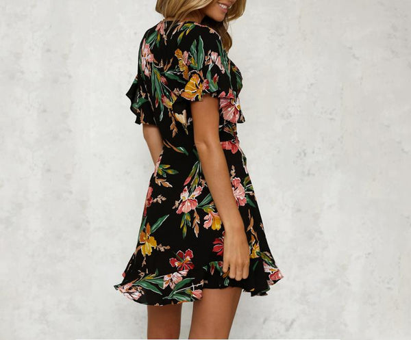 Gwyneth V-Neck Flower Dress