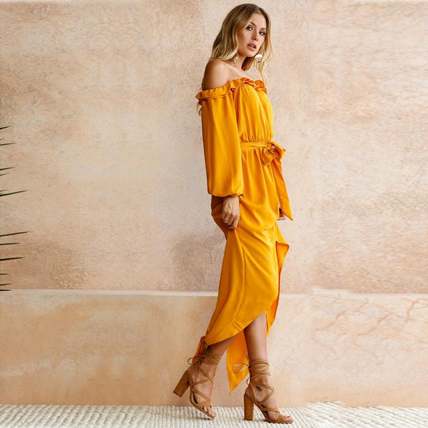 Gracen Off-Shoulder Ruffles Dress