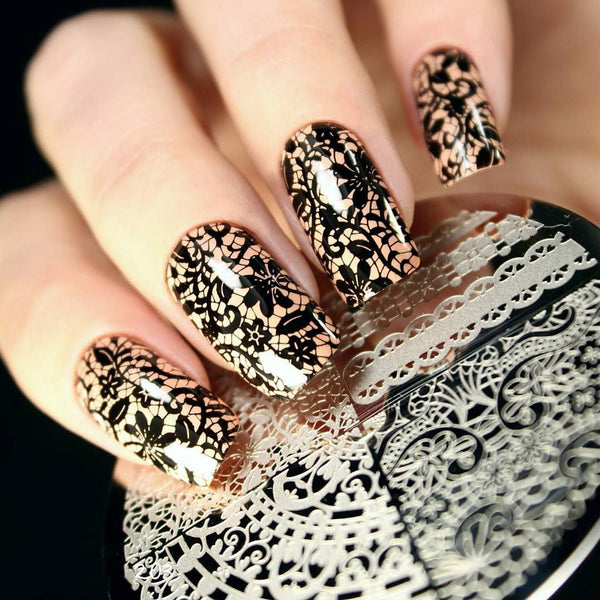 10 pcs Nail Plates with Jelly Stamper Set