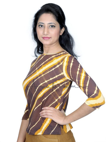Chocolate Gold Cotton leheriya T-Shirt