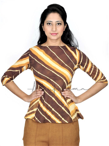 Chocolate Gold Cotton leheriya Peplum T-Shirt