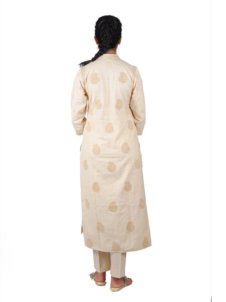 Cream allover ambi Embroidered khadi kurta