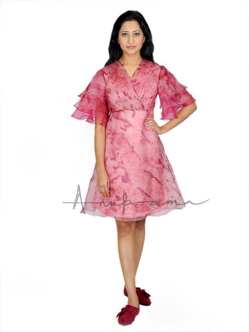 Rose red silk katan leheriya pleated empire dress