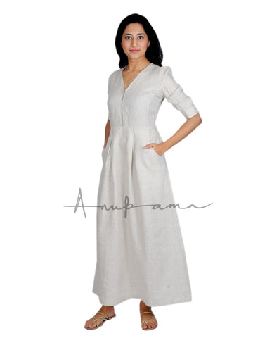 Solid color linen dress