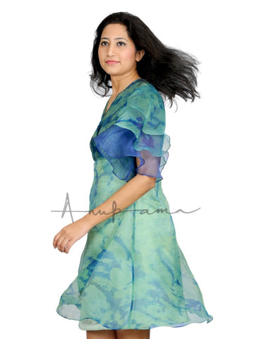 Blue Green silk katan leheriya pleated empire dress