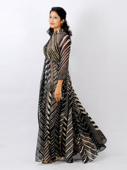 katan silk leheriya floor length coat with matching Satin cullotte pants.