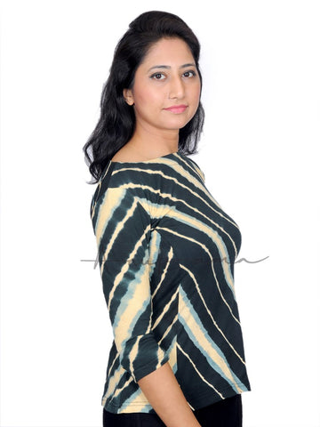 Black Khakhi Cotton leheriya Peplum T-Shirt