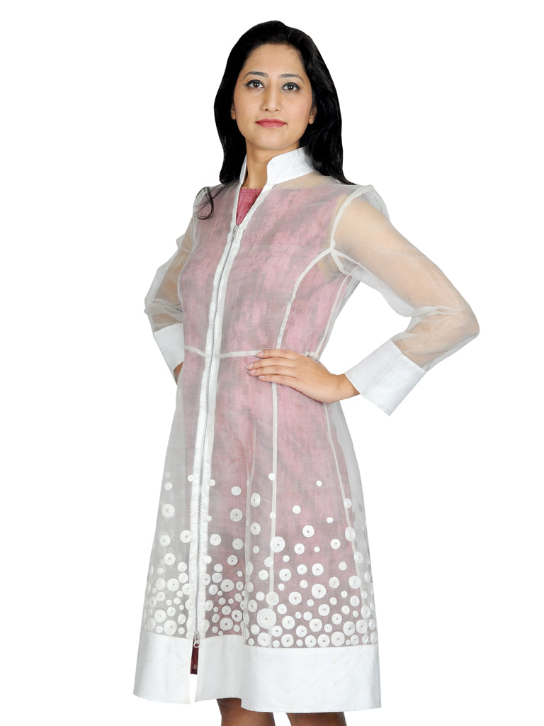 Silk katan Circles embroidered jacket