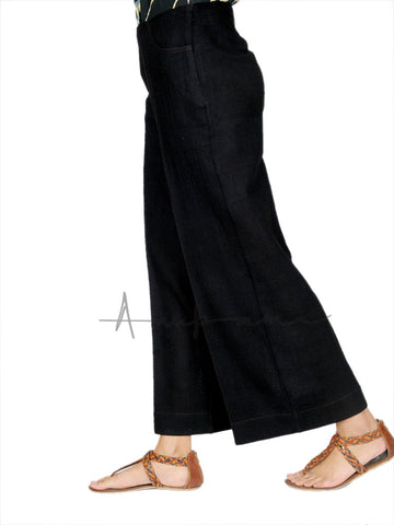 Black Khadi wool pants