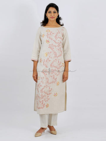 Coloured silk gota patti and rosebud embroidered kurta