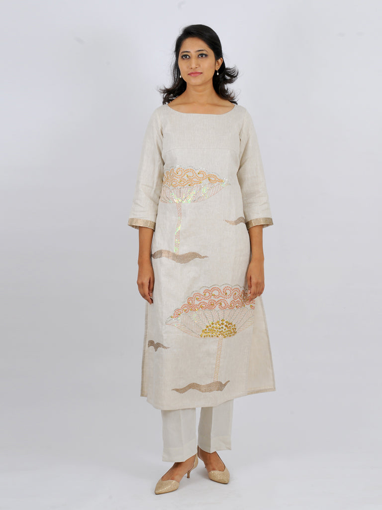 lotus waves kurta in Jute silk with matching cotton pants