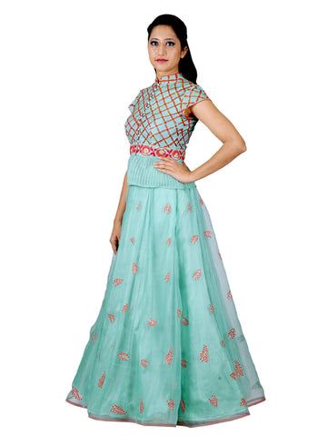 Aqua Hand Embroidered Katan Silk Lehenga
