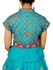 Teal Katan Silk Gota patti Embroidered  Lehenga with Patchwork Peplum Top
